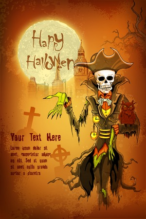 illustration of Halloween ghost with skull head Vector