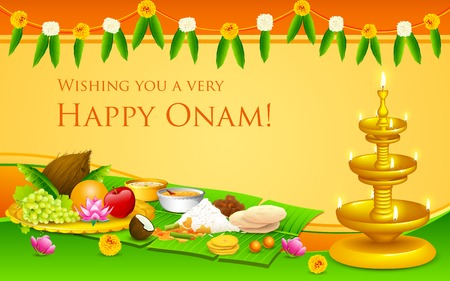 kerala culture: illustration of Onam feast on banana leaf