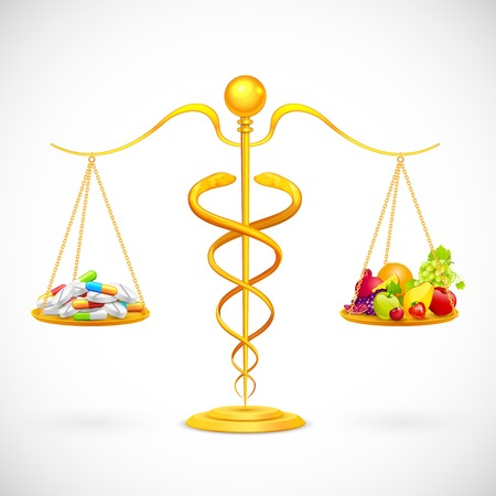 nutritional: illustration of caduceus beam balance with medicine and fruit