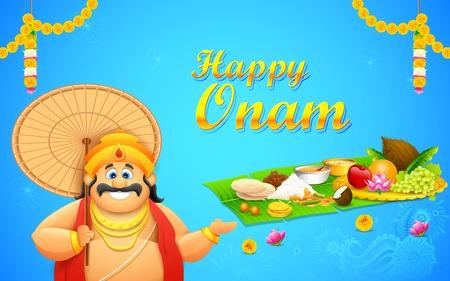 pookolam: illustration of King Mahabali in Onam background