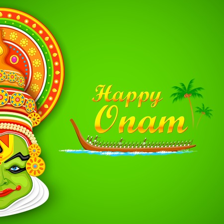 onam: illustration of Kathakali dancer face and boat racing for Onam celebration