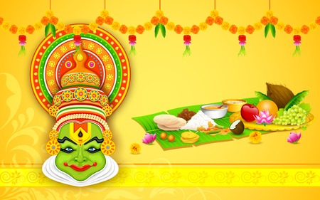 toran: illustration of colorful Kathakali dancer face for Onam celebration