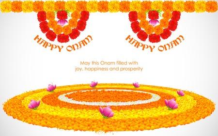 オナムの花ランゴーリー装飾のイラスト