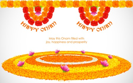 indian festival: illustration of flower rangoli decoration for Onam Illustration
