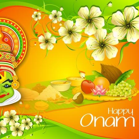illustration of Onam wallpaper of Kerala Vector