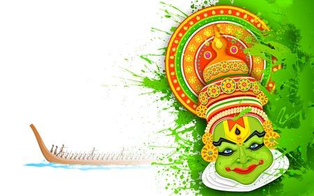 illustratie van Kathakali danser gezicht en boot racen voor Onam feest Stock Illustratie