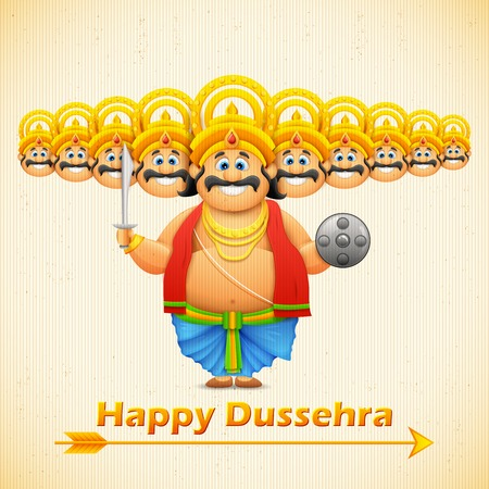 dussehra: illustration of Ravana with ten heads for Dussehra