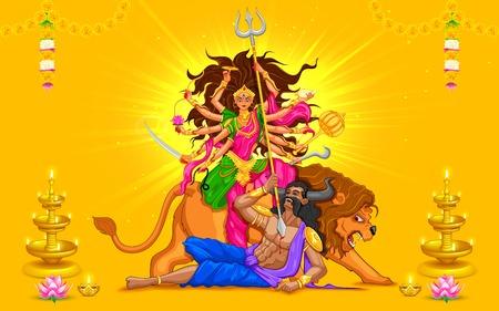 ilustración de la diosa Durga en Subho Bijoya (Happy Dussehra) de fondo