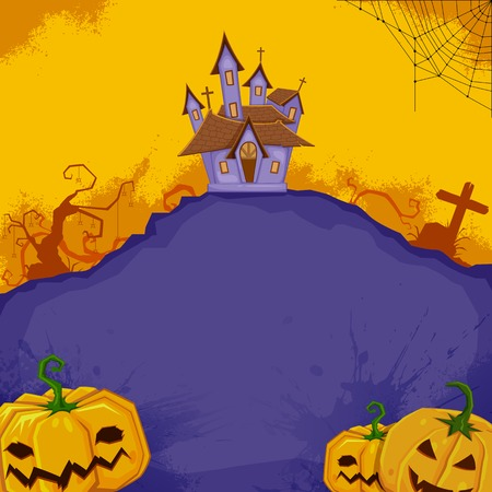 illustration of pumpkin with haunted house in halloween background Vector