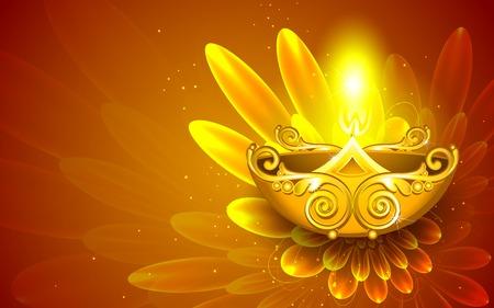 pooja: illustration of illustration of decorated diya for happy diwali Illustration