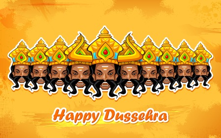 ravana: illustration of Raavana with ten heads for Dussehra