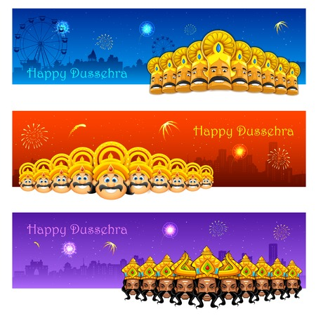 illustration of Raavana with ten heads for Dussehra Vector