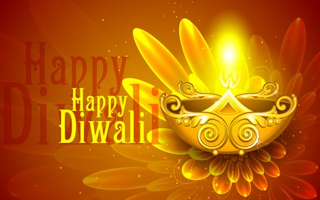 illustration of illustration of decorated diya for happy diwali Vector