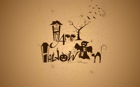 illustration of Halloween typography with haunted house Vector