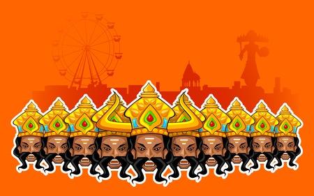 dussehra: illustration of Ravana with ten heads for Dussehra Holiday