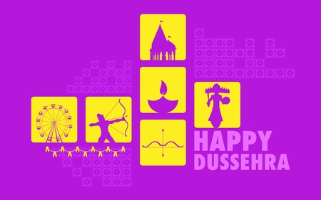 hindu temple: illustration of Happy Dussehra Holiday background with Rama and Rvana
