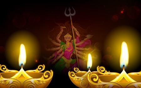 mahishasura: illustration of goddess Durga in Subho Bijoya (Happy Dussehra) Holiday background