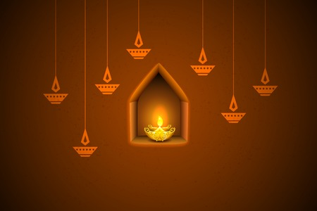 oil lamp: illustration of burning diya on Diwali Holiday background Illustration