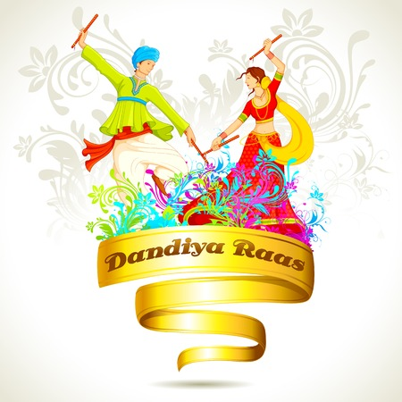 illustration of couple playing dandiya on Navratri Illustration