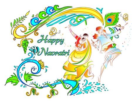 navratri: illustration of couple playing dandiya on Navratri Illustration