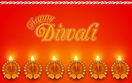 auspicious: illustration of Decorated Diya for Diwali Holiday