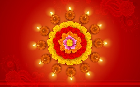 diwali celebration: illustration of decorated Diwali diya on flower rangoli