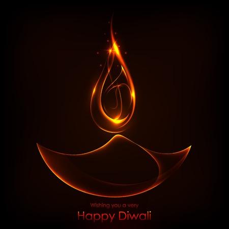 deepavali: illustration of burning diwali diya on Diwali Holiday background