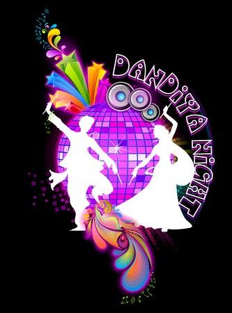 participacion: ilustraci�n de personas bailando en un disco en la noche dandiya