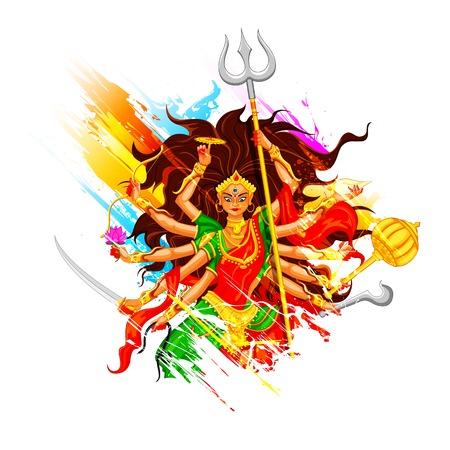 inmersion: ilustraci�n de la diosa Durga en Subho Bijoya (Happy Dussehra) de fondo