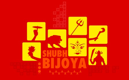 illustration of Subho Bijoya (Happy Dussehra) Holiday background Vector