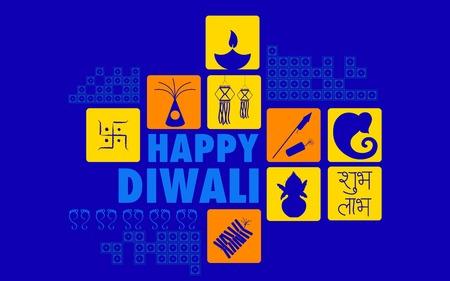 kutlamalar: Diya ve fişekle Mutlu Diwali arka plan illüstrasyon