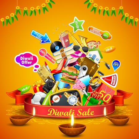 illustration of  Festive Offer for Diwali holiday Vector