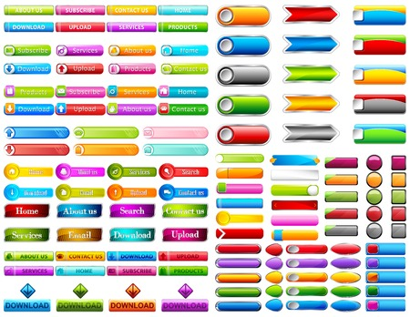 illustration of collection of colorful web button Vector