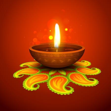 illustration of burning diya on Diwali Holiday background Vectores