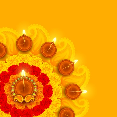 hindu god: illustration of decorated Diwali diya on flower rangoli
