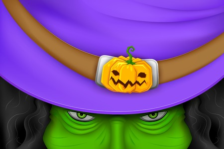 illustration of Halloween witch wearing pumpkin hat Vector