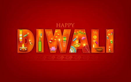 illustration of Diwali background with puja object Vector