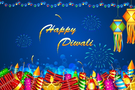 firecracker: illustration of Diwali background with colorful firecracker Illustration