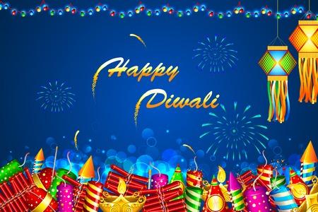 appendere: Illustrazione di Diwali sfondo colorato con petardo