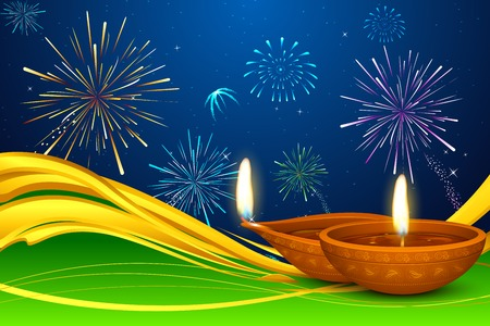 greeting season: illustration of Diwali diya on firework backdrop