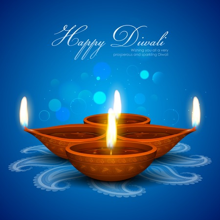 illustration of burning diya on Diwali Holiday background Illustration