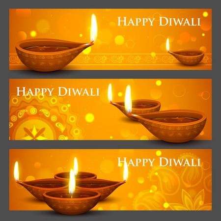illustration of burning diya on Diwali Holiday banner Vector