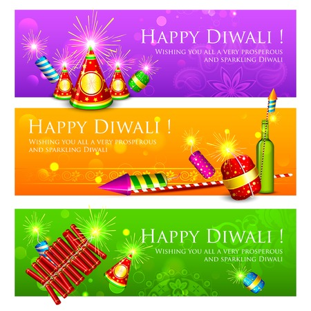 illustration of Diwali banner with colorful firecracker Vector