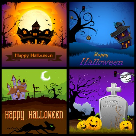 illustration of Happy Halloween poster collection