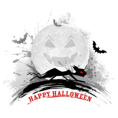 illustration editable: illustration of scary cat in Halloween night