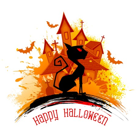 illustration of scary cat in Halloween night