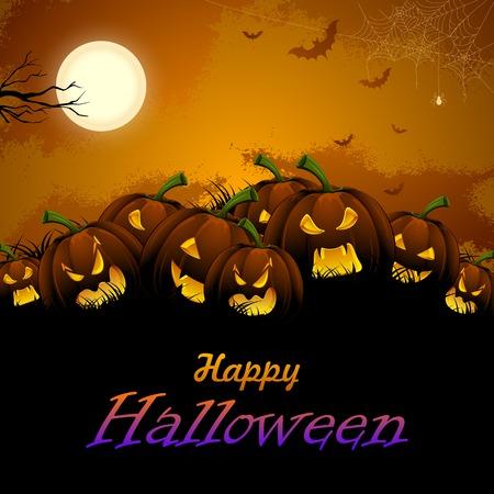 ghostly: illustration of jack-o-lantern pumpkin in Halloween night