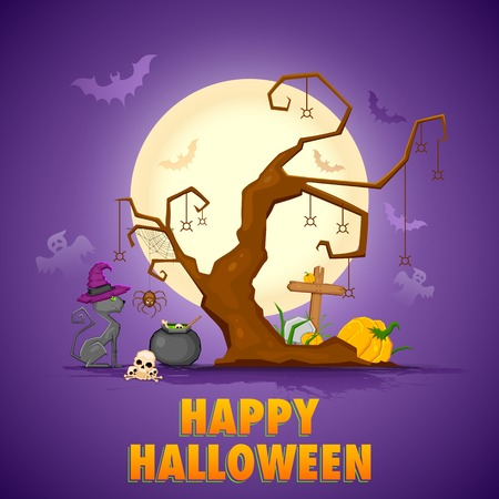 illustration of scary cat cooking in cauldron in Halloween night Vector