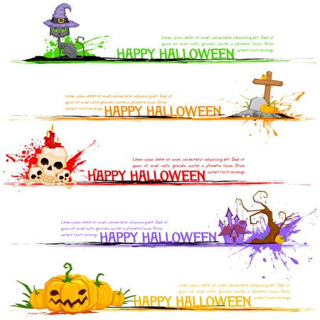 grungy header: illustration of Happy Halloween header collection