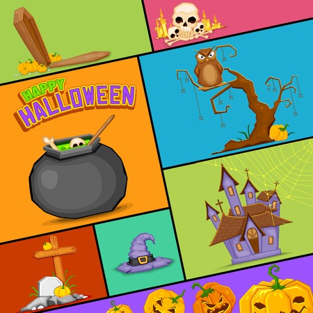illustration of Happy Halloween poster collection Vector